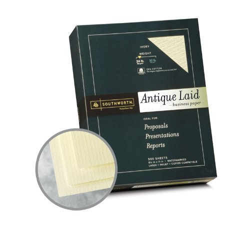 - Southworth Business Antique Laid 25% Cotton Ivory Paper - 8 1/2 x 11 in 24 lb Bond Laid 25% Cotton Watermarked 500 per Ream