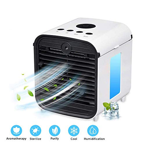 Air Conditioner Fan, Air Personal Space Cooler Small Desktop Fan Quiet Personal Table Fan Mini Evaporative Air Circulator Cooler Humidifier Bladeless Quiet for Office, Dorm, Room 3 speeds (Best Personal Space Cooler)