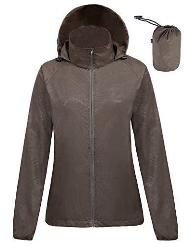 Kate Kasin Women's Lightweight Windbreaker Jacket Anorak Quick Dry Outdoor Packable Hoody ,Medium,Coffee