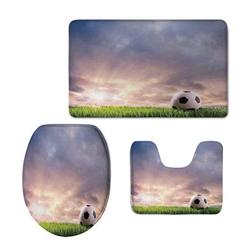 iPrint Custom Made,Sports Decor,Soccer Ball on Green Grass Dark Clouds Sunrise Meadow Landscape Picture,3 Piece Bath mat Set by iPrint
