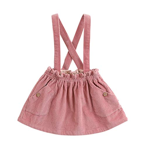 marc janie Little Girls' Autumn Corduroy Suspender Skirt Baby Girls Jumpsuit Strap Skirt Overall Dress Purple Pink 3T (90 (Purple Corduroy Skirt)