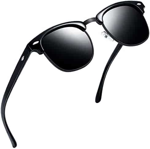 79d0060c3 Joopin Semi Rimless Polarized Sunglasses Women Men Retro Brand Sun Glasses  (All Black)