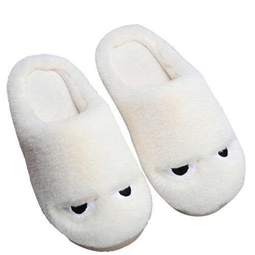 LaxBa Femmes Hommes chauds dhiver Chaussons peluche antiglisse intérieur Cotton-Padded Chaussures Slipper white40-70 (39-40 mètres)