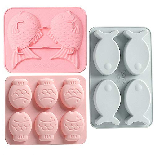 - MoldFun 3 Pack Fish Shaped Silicone Molds for Chocolate Candy Gummy Fondant Gelatin Jello Jelly Baking Cake Soap Polymer Clay Crayons Wax Melt Plaster Ice Cube Tray (Random Color)