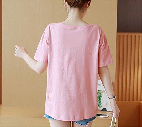 Girocollo Shirt T Pregnancy Camicie Estive Magliette Top Gogofuture Stampate Maniche Donna Maglietta Blusa Maternity Eleganti Corte Premaman Rosa Incinta wpx5qEnTq