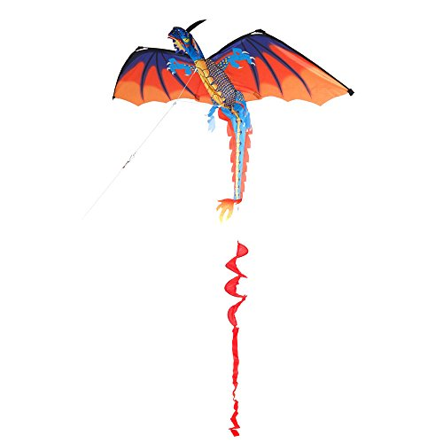 (VIPITH Flying Dragon Kite Classic Kids Toy Outdoor Play Fun Children Game Activity)