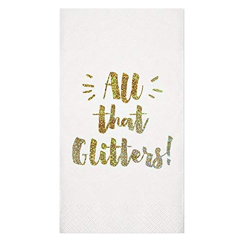 "Slant Collection Gold Glitter ""All that Glitters"" Paper Guest Towels"