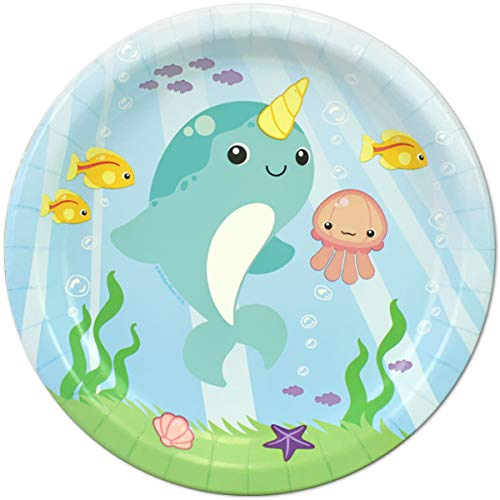 Narwhal Fantasy 24 Count 9 inch Birthday Party Lunch Plates