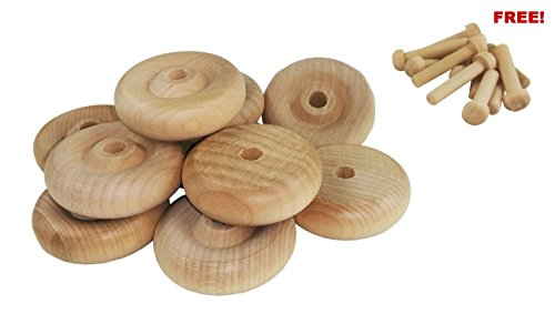 (Wood Wheels - 24 Pack with Free Axle Pegs - Made in USA (1.5