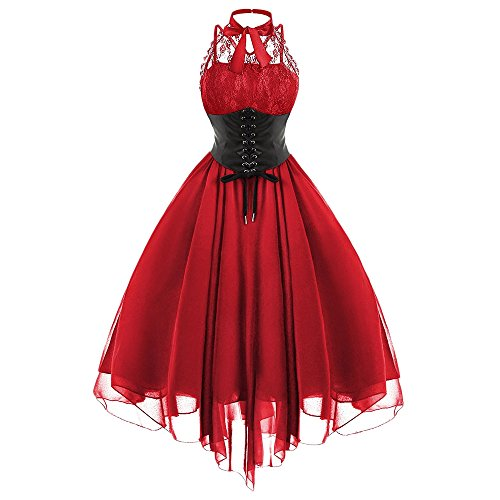 Langstar Women Gothic Bow Party Dress Vintage Black Sleeveless Cross Back Lace Panel Corset Swing Dress, Red, X-Large Red Gothic Cross
