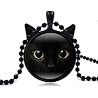 Cute Black Cat Art Picture Pendant Statement Chain Necklace by Vibola