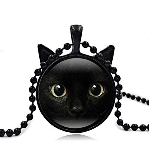 Cute Black Cat Art Picture Pendant Statement Chain Necklace by Vibola (Sapphire Cats)