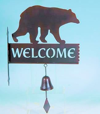 Lodge Theme Bear Welcome Sign with Cast Iron Bell
