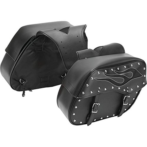 (Diamond Plate 2pc Motorcycle Saddlebag Set with Flame Design)