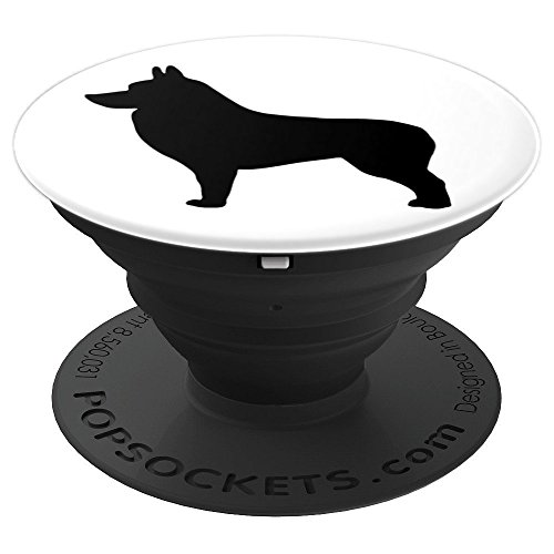Dog Lover Gift - Schipperke Dog Breed Silhouette Pup - PopSockets Grip and Stand for Phones and ()