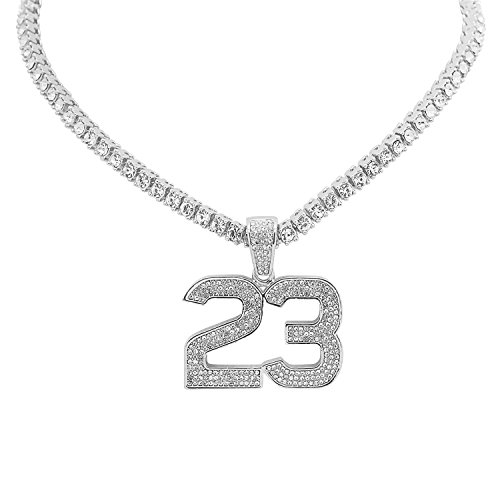Hop Hip Bling Real (White Gold-Tone Iced Out Hip Hop Bling Jordan Number 23 Pendant 1 Row Stones Tennis Chain 16