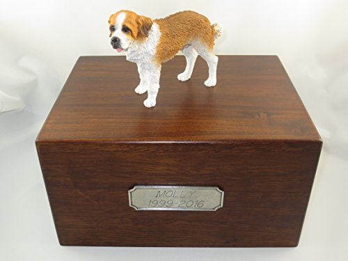 Beautiful Paulownia Large Wooden Urn with St. Saint Bernard Figurine & Personalized Pewter Engraving