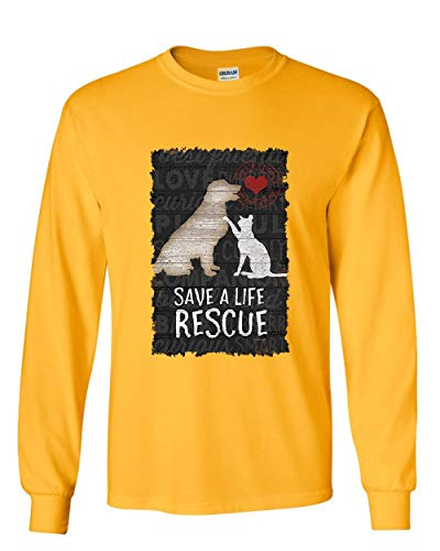 (Save a Life Rescue a Pet Long Sleeve T-Shirt Dog Cat Kitty Puppy Shelter Paw Tee Yellow M)
