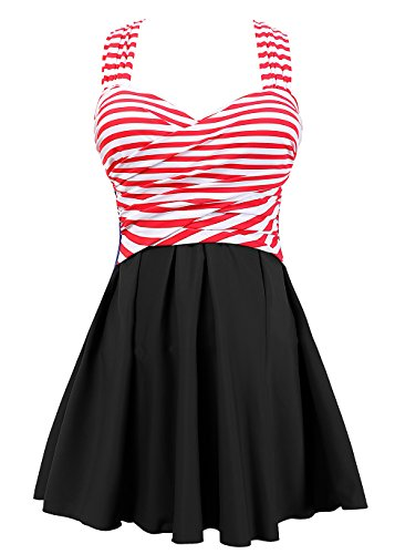 COCOPEAR Women's Elegant Crossover One Piece Swimdress Floral Skirted Swimsuit(FBA) Red Stripe Black 3XL/16-18
