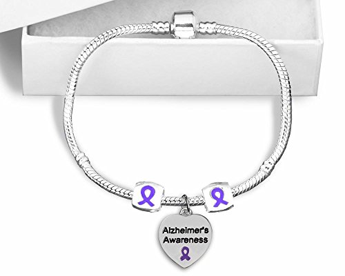 Ribbon Awareness Silver Sterling Bracelet (The Awareness Store Alzheimer's Awareness Snake Chain Sterling Silver Plated Charm Bracelet)