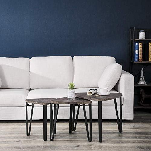 Winkel Aingoo Bijzettafeltjes, 3-delige set, nachtkastje, 3-delige set, zitgroep, lage tafel, nesting, tafel, middeldichte vezelplaat, MDF-tafelpoot van metaal, bruin  V4FqHOs
