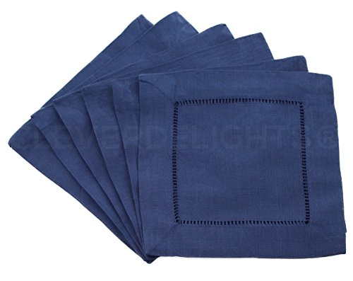 12 CleverDelights Navy Hemstitch Cocktail Napkins - 6