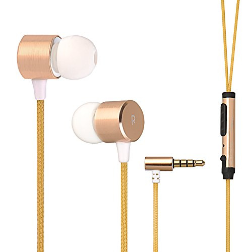 Besiva In-Ear Earbuds Noise Isolation Headphones with Mic and Volume Control(Gold)