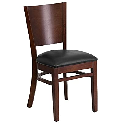 Flash Furniture Lacey Series Solid Back Mahogany Wood Restaurant Chair - Vinyl Seat - Lacey Series Solid Back Walnut Wooden Restaurant Chair - Black Vinyl Seat Heavy Duty Restaurant Chair Solid Back - kitchen-dining-room-furniture, kitchen-dining-room, kitchen-dining-room-chairs - 41cvcn%2B1x2L. SS400  -