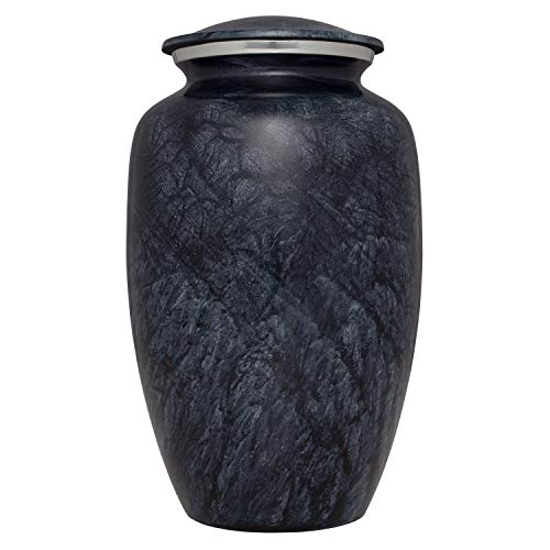 Grey Funeral Urn by Liliane Memorials - Cremation Urn for Human Ashes - Hand Made in Aluminum - Suitable for Cemetery Burial or Niche- Large Size fits Remains of Adults up to 200 lbs ()