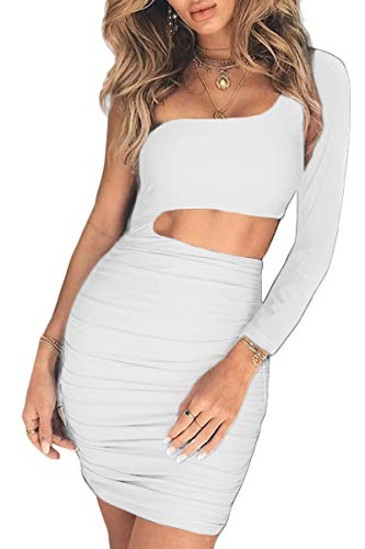 CHYRII Bodycon Dresses for Women Sexy High Waisted Cutout Party Dress Mini Length White-8808 S