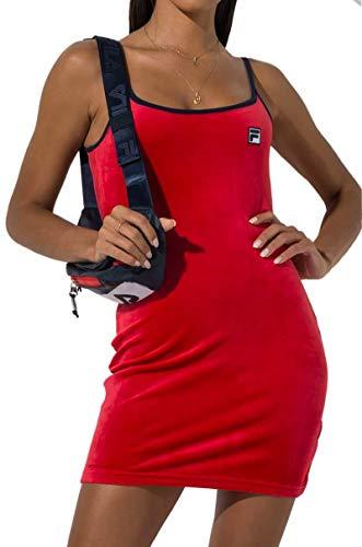 (Fila Dylana Spaghetti Strap Retro Velour Tank Mini Dress-Chinese RED Peacoat White_M)