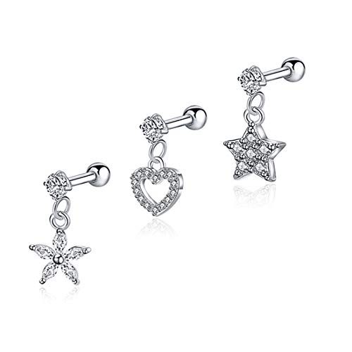 EVBEA 3PCS 18G Tragus Earrings Surgical Steel Clear CZ Heart Star Flower Charms Helix Conch Daith Piercing Jewelry Set for Women ()