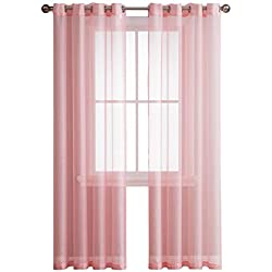 Grommet Semi-Sheer Curtains - 2 Pieces - Total Size 108 Inch Wide (54 Inch Each Panel) - 84 Inch Long - Panel Beautiful, Elegant, Natural Light Flow, and Durable Material (Rose)