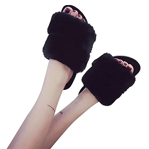 Womens Indoor Black Mavirs On Fashion Slippers amp; Outdoor Flat Slippers Sandals Slides Soft Fur Slip B4wTa4