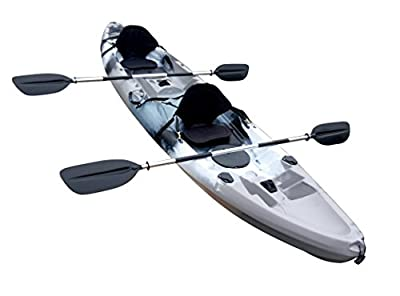 Useful UH-TK219 12 foot Tandem Sit On Top Kayak 2 or 3 person with 2 Paddles and Seats and 5 Fishing Rod Holders Included
