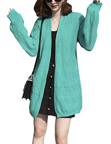 D.B.M Women's Solid Color Coarse Lines V-Neck Wave Pattern Knitted Cardigan (One Size, Light-Green) ()