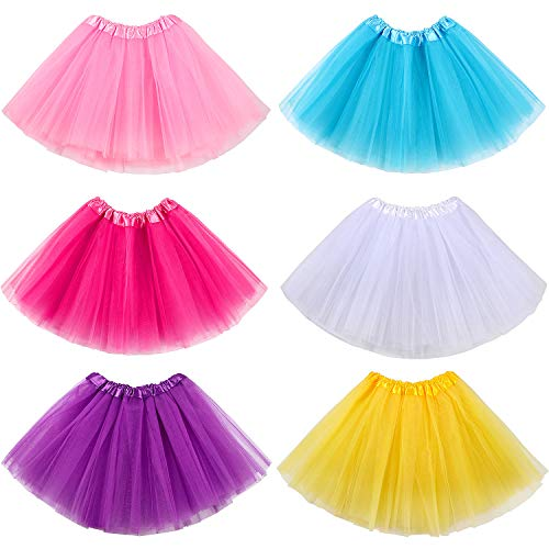 ACEHOOD 6 Pcs Tutus for Girls 3 Layer Ballet Tutus Skirts Birthday Party Favor Princess Dress Up (6 Pcs C)]()
