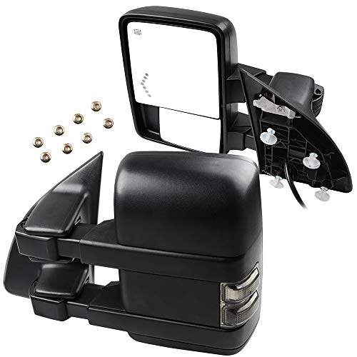 (SCITOO for Ford Super Duty Series Tow Mirrors with Turn Signal Power Heated Lights Arrow Led Signal Light Rear View Mirrors for 2008-2016 F250 F350 F450 F550 Super Duty Series)