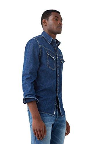 MANGO MAN - Dunkles slim fit Hemden jeanshemd - Size:XL - Color:Dunkelblau