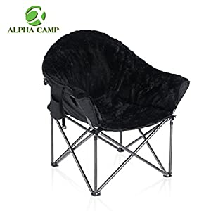 ALPHA CAMP Plush Moon Saucer Chair with Carry Bag – Supports 350 LBS, Black