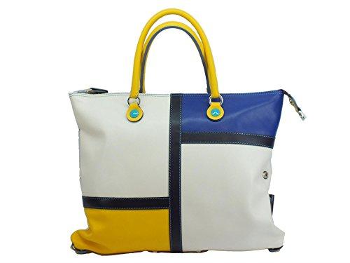 Borsa Gabs modello Piatta Trasformabile G3 Patchwork pelle Bianca Gialla Blu multicolour_multicolour, mehrfarbig
