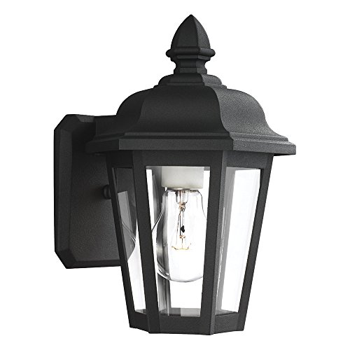 Sea Gull Lighting 8822-12 Brentwood One-Light Outdoor Wall Lantern with Clear Glass Panels, Black (12 Brentwood 1 Light)