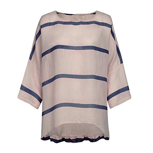 (TOOPOOT 2019 New Blouses for Women, Summer Plus Size Linen Tops Tee Vintage Stripe Loose Daily Shirt Blouse Navy)