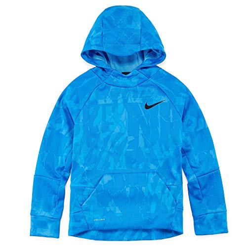 (Nike Big Boys' Dri-Fit Therma Pullover Sweatshirt Hoodie (Blue, Large))