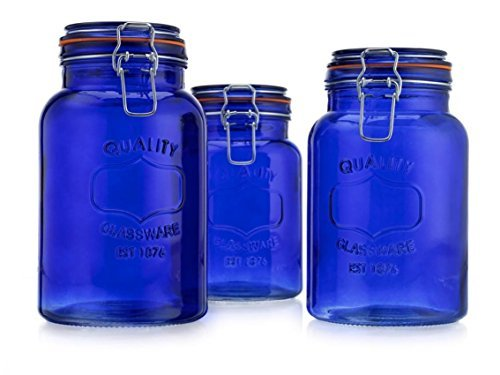American Reproductions Glass Canister Quality Set of 3 Blue Round Jar with Hermetic Seal Bail & Trigger Airtight Lock for Kitchen - Food Storage (Blue Glass Cookie Jar)