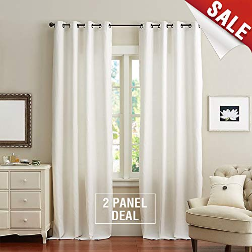 White Cotton Curtains for Bedroom Cotton Curtains 84 inches Long Window Curtain Panels for Living Room Grommet Top, 2 Panels