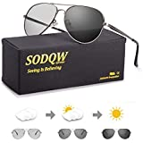 SODQW Mens Polarized Photochromatic Sunglasses, Aviator Sport Sunglasses, UV 400 Protection with Large Metal Frame for Driving Cycling (Gun Frame Photochromatic Glasses)