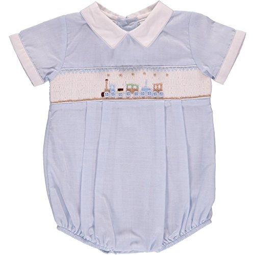 Carriage Boutique Baby Boys Creeper Hand Smocked Classic Bubble- Blue Train, -