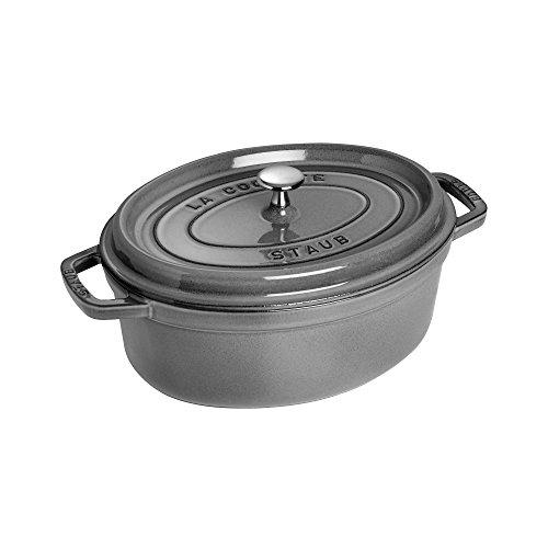 - Staub Cast Iron 4.25-qt Oval Cocotte - Graphite Grey