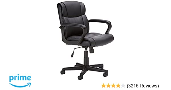 amazon com amazonbasics mid back office chair black kitchen dining